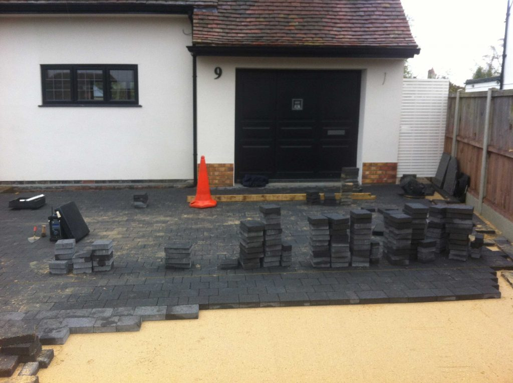 laying stone setts for a new driveway