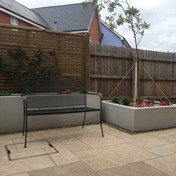 low maintenance garden with soft landscaping features
