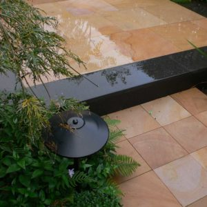 patio with contrasting paver design