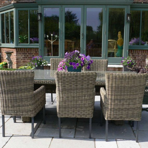 outdoor dining area on lansdcaped terrace