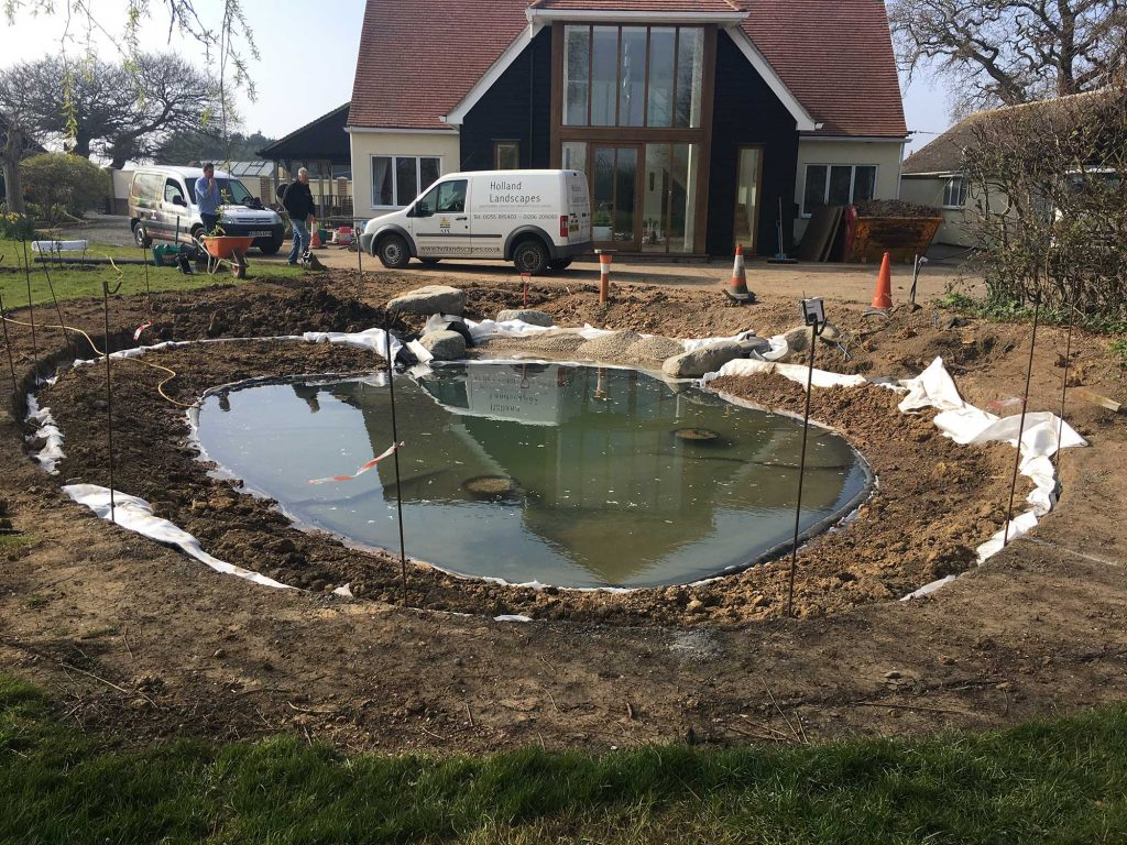 wildlife pond awaiting marginal plants