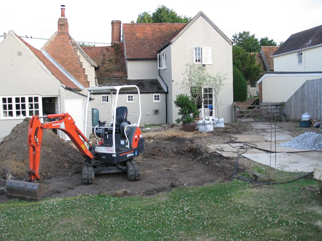 excavating landscaping project at tiptree