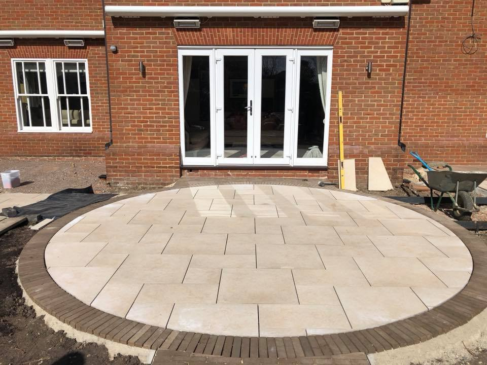circular porcelain patio