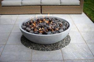 firebowl warms summer in the garden