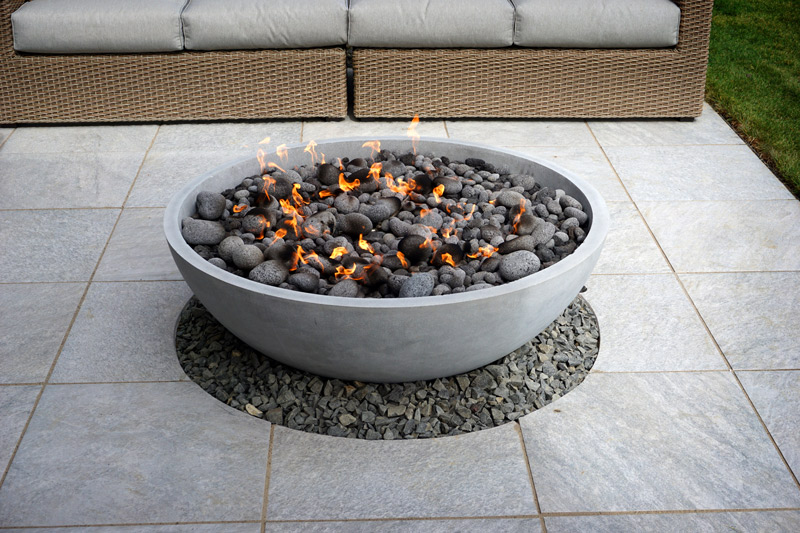 firebowl warms summer in the garden