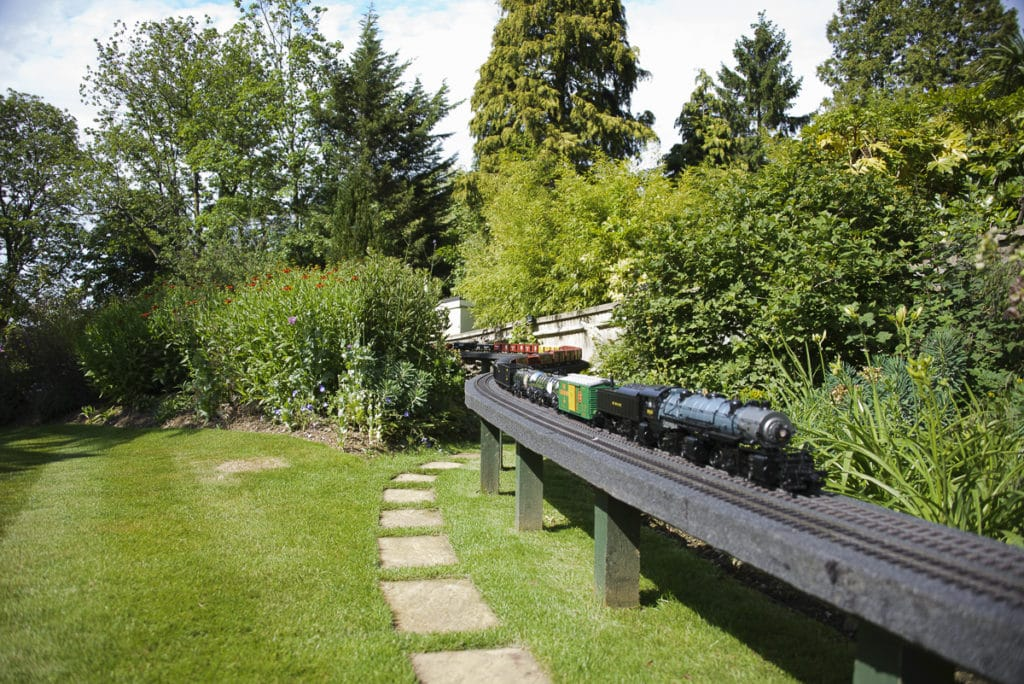 model railway in garden