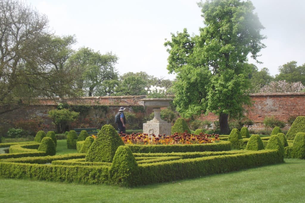 beautiful knot garden with symmetrical design using box hedges