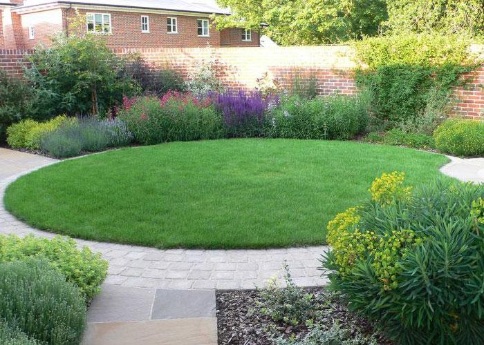 beautiful circular lawn made from turf