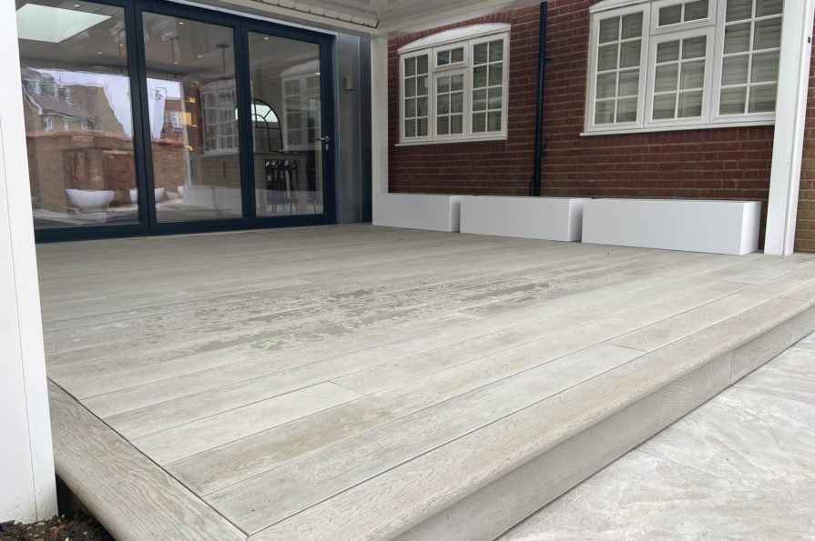 composite decking patio in grey