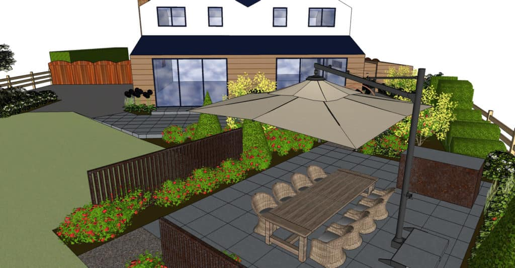 3D garden design for outdoor kitchen