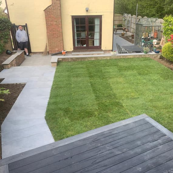 garden layout with decking lawns path and patio