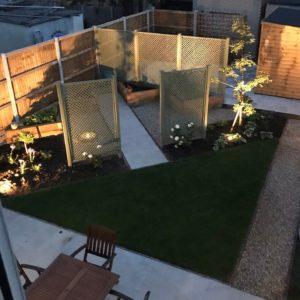 beautifully lit small back garden