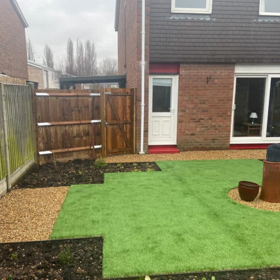 artificial lawn in urban back garden
