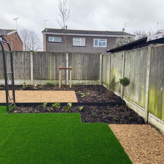 garden layout with lawn, planting beds, path and patio