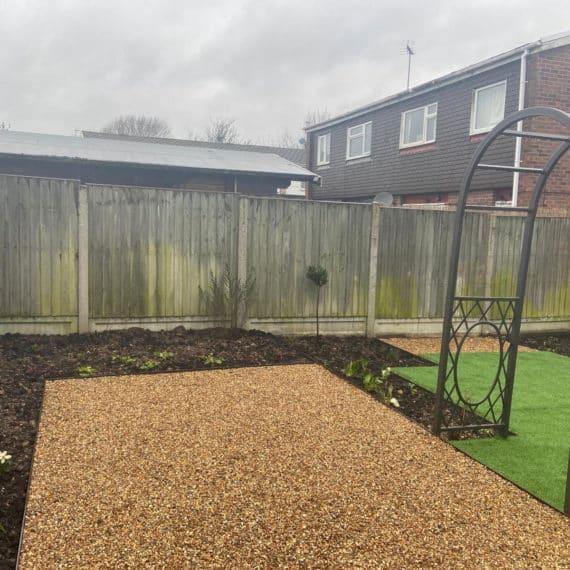 gravel seating area in urban back garden