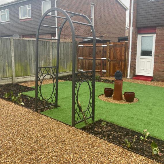 pretty back garden design after landscaping