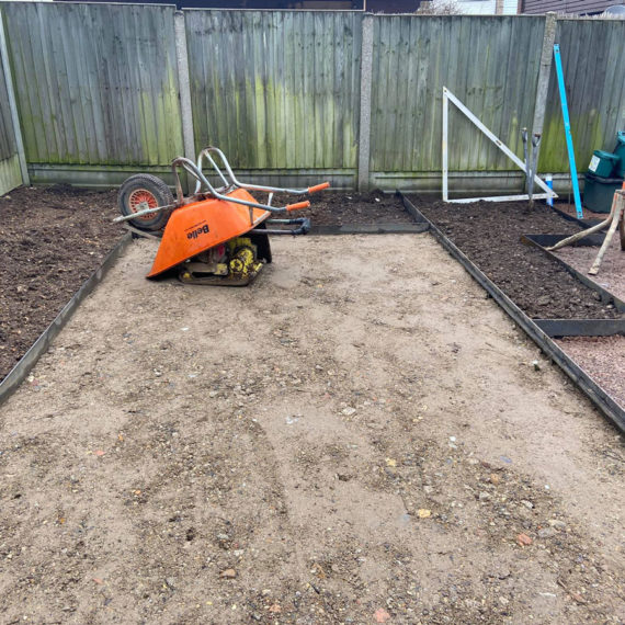 preparing the base for a gravelled seating area